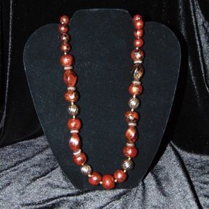 Vtg 80s Set of 2 Matching Brown & Gold Bead neckla